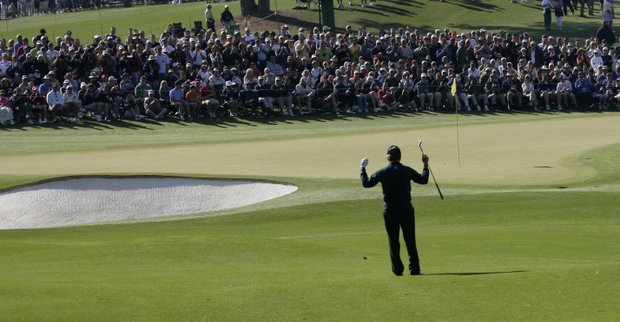 Gary Player of South Africa reacts to his third shot on the second hole during the first round of the Masters golf tournament at the Augusta National Golf Club in Augusta, Ga., Thursday, April 9, 2009.