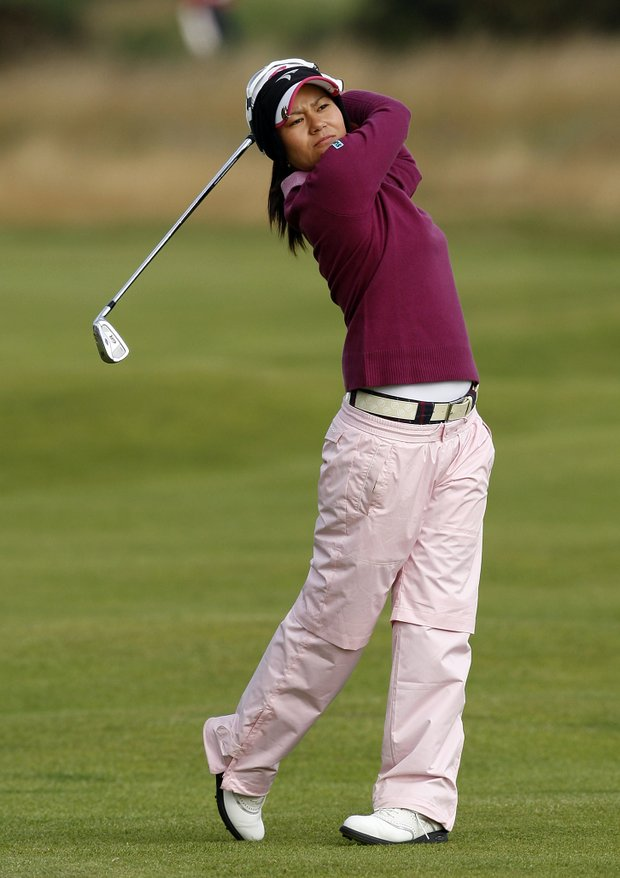 Japan's Ai Miyazato plays her second shot on the 4th hole during the 1st round of the Women's British Open Golf Championship at Royal Lytham & St Annes Golf Course, Lytham & St Annes, England, Thursday, July, 30, 2009