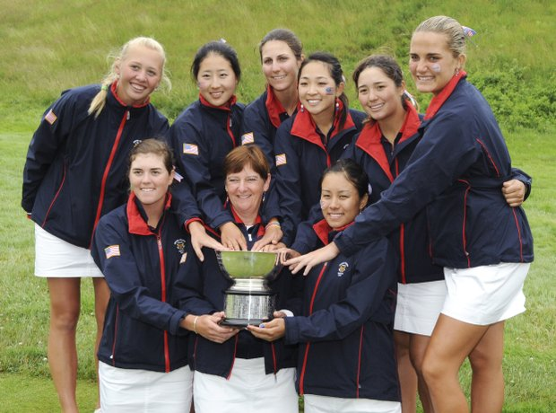 Members of the U.S. team pose with the trophy after winning the Curtis Cup golf event at Essex County Club in Manchester-by-the-Sea, Mass., Sunday, June 13, 2010. From left in front are Cydney Clanton, Captain Noreen Mohler and Stephanie Kono. In back from left are Jessica Korda, Jennnifer Song, Jennifer Johnson, Tiffany Lua, Kimberly Kim and Alexis Thompson.