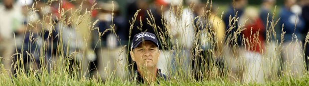 Davis Love III watches his bunker shot on the 18th hole during the second round of the U.S. Open golf tournament Friday, June 18, 2010, at the Pebble Beach Golf Links in Pebble Beach, Calif.