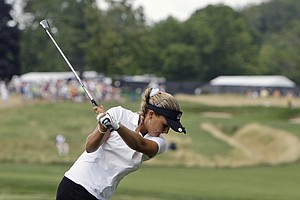 Alexis Thompson tees off the second hole during the third round of the U.S. Women's Open golf tournament at Oakmont Country Club in Oakmont, Pa., Saturday, July 10, 2010.