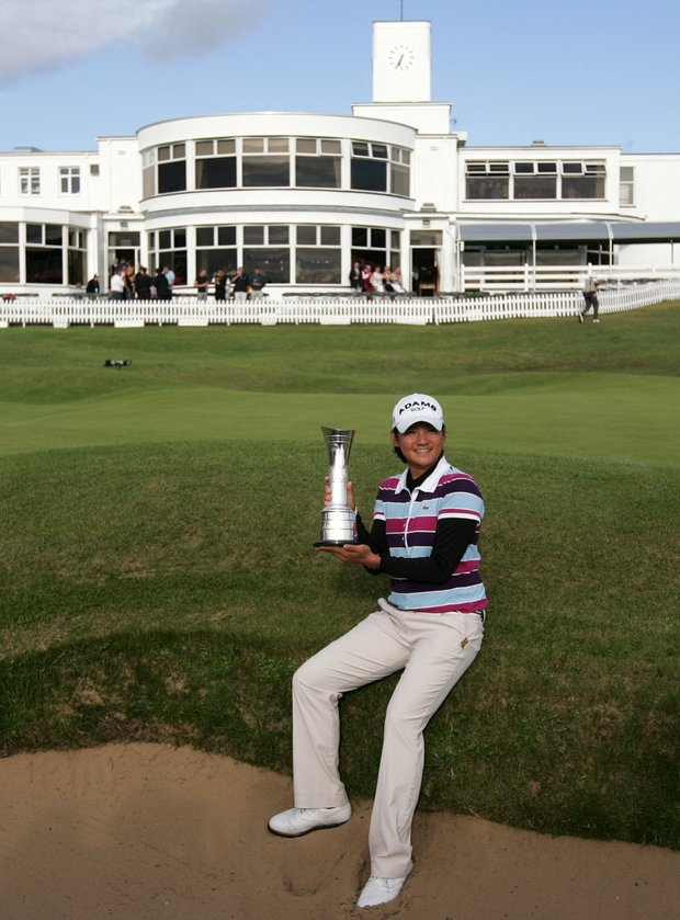 Taiwan's Yani Tseng with the trophy after winning the Women's British Open, at Royal Birkdale Golf Club, in Southport, England, Sunday Aug. 1, 2010.