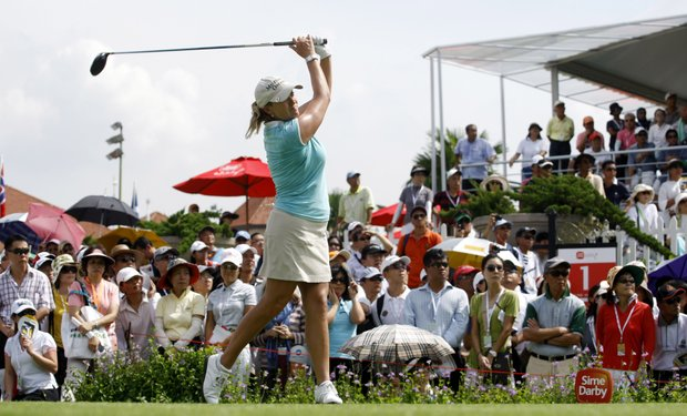 Cristie Kerr of the U.S. tees off on the 1st hole during the first round of the Sime Darby LPGA Malaysia 2010 golf tournament at Kuala Lumpur Golf & Country Club in Kuala Lumpur, Malaysia, Friday, Oct. 22, 2010.