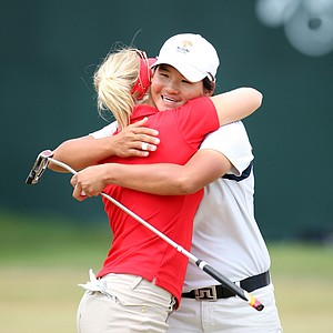 Yani Tseng and Minea Blomqvist after their third round at the LPGA Ginn Open at Reunion Resort, Saturday April 19, 2008.