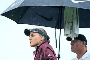 Alexis Thompson during the rain drenched match play of the 61st U.S. Girls' Junior Championship at Trump National Golf Club in Bedminster, New Jersey.