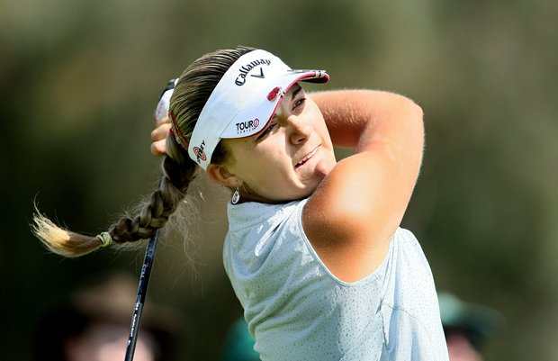 Alexis Thompson hits her tee shot at No. 2 during the third round of the Kraft Nabisco Championship on the Dinah Shore Tournament Course in Mission Hills.