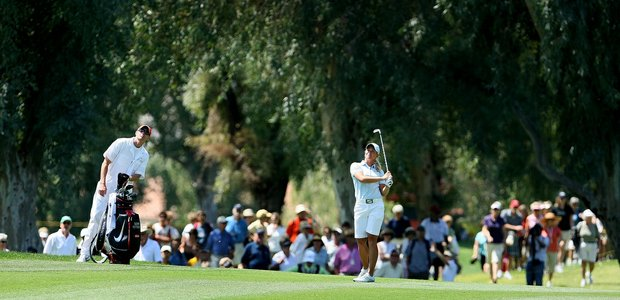 Suzann Pettersen hits her second shot at No. 9 during the final round of the Kraft Nabisco Championship on the Dinah Shore Tournament Course in Mission Hills.