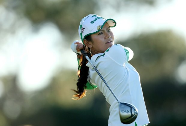 Ai Miyazato hits her tee shot at No. 9 during a round of the LPGA Tour Championship at Grand Cypress in Orlando, FL on Saturday, Dec. 4, 2010.