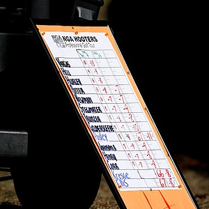 The NGA Hooters scoreboard during the final round of the Hooters Tour Winter Series event at Timacuan Golf Club. James Vargas won with a 14-under.
