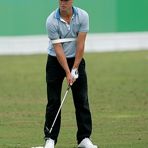 Alexander Noren hits the practice tee after the second round of the Abu Dhabi Championship.
