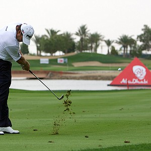 Lee Westwood plays a shot at the sixth hole at Abu Dhabi Golf Club.