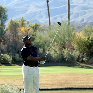 Former NFL and MLB star Bo Jackson watches his tee shot on the 16th hole during round three of the Bob Hope Classic at the Nicklaus Private Course at PGA West.