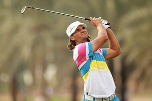 Johan Edfors of Sweden in action during the third round of The Abu Dhabi HSBC Golf Championship at Abu Dhabi Golf Club on January 22, 2011 in Abu Dhabi, United Arab Emirates.