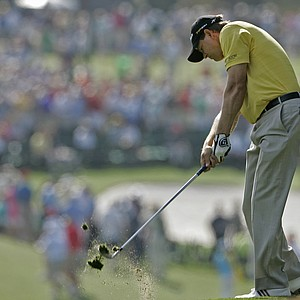 Retief Goosen of South Africa hits from the first fairway during the second round of the 2008 Masters golf tournament at the Augusta National Golf Club in Augusta, Ga., Friday, April 11, 2008.