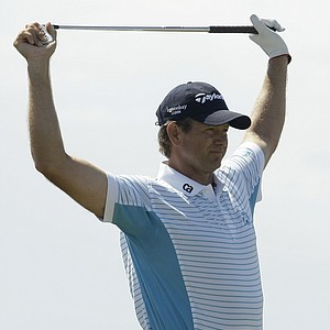 Retief Goosen of South Africa is seen on the fourth tee during practice for the British Open Golf championship, at the Turnberry golf course, Scotland, Wednesday, July 15, 2009.