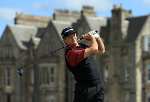South Africa's Retief Goosen watches his tee shot on the second hole during the third round of the British Open Golf Championship on the Old Course at St. Andrews, Scotland, Saturday, July 17, 2010.