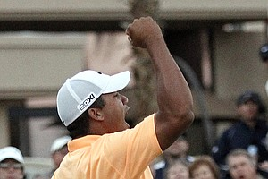 Jhonattan Vegas reacts after after winning on the second playoff hole on the Palmer Private course at PGA West during the final round of the Bob Hope Classic in La Quinta, Calif., Jan. 23, 2011.