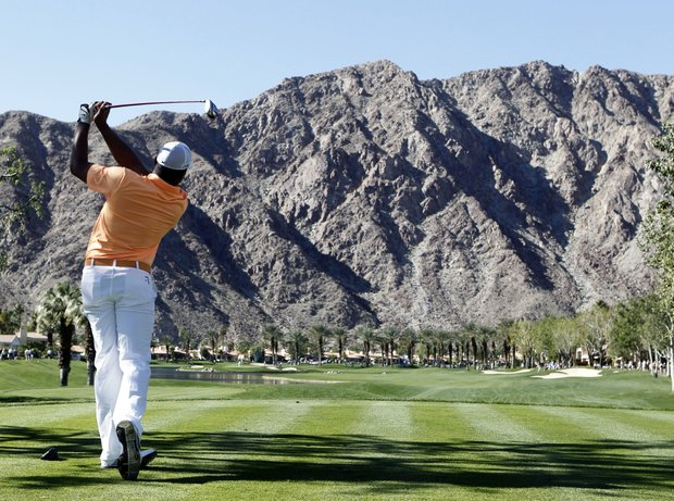 Jhonattan Vegas watches his tee shot from the fourth hole during the final round of the Bob Hope Classic on the Palmer Private course at PGA West in La Quinta, Calif., Jan. 23, 2011.