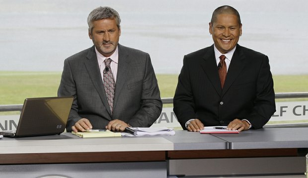 Golf Channel analyst Frank Nobilo and Notah Begay III on the set at the 2010 U.S. Open at Pebble Beach.