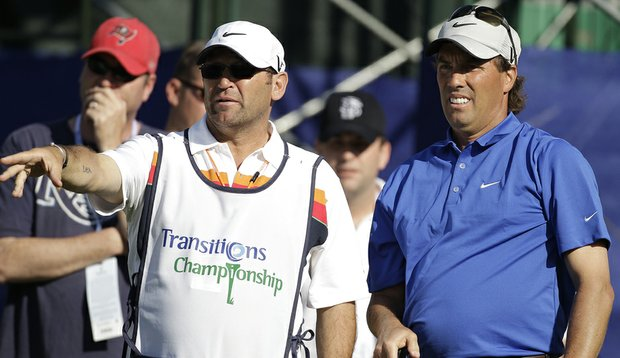 Stephen Ames and his caddie during the 2010 Transitions Championship.