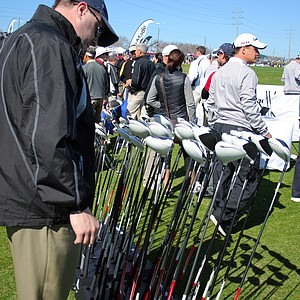 View of the bustling TaylorMade booth on Demo Day of the 2011 PGA Merchandise Show.