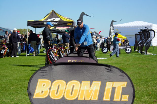 View of the Bridgestone booth on Demo Day of the 2011 PGA Merchandise Show.