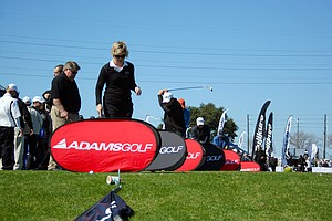 View of the Adams Golf booth on Demo Day of the 2011 PGA Merchandise Show.