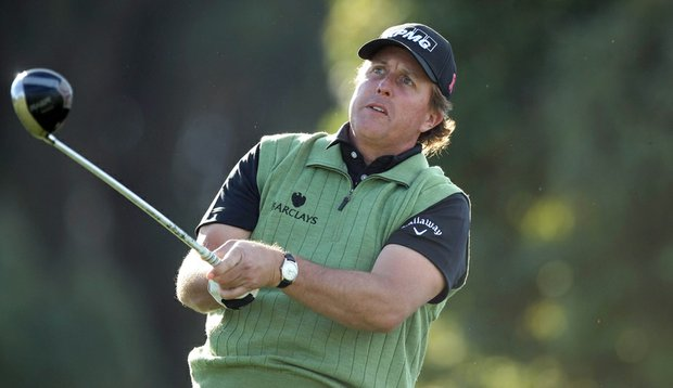 Phil Mickelson while playing a practice round at Torrey Pines.