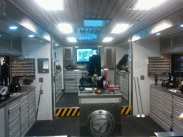 Inside the new TaylorMade tour van.