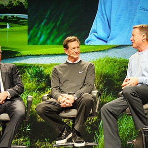 Greg Norman, Hank Haney and Michael Breed participate in a show roundtable on Thursday morning at the PGA Merchandise Show in Orlando, Fla. on January 27, 2011.