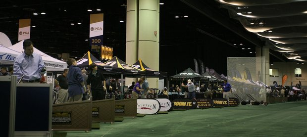 Equipment companies set up tents on one end of the Orange County Convention Center where show-goers could test out golf clubs at an indoor range.