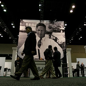 The Bobby Jones booth displays men's and women's hats and clothing on the apparel end of the PGA Merchandise Show floor.