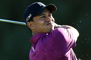 Tiger Woods during the first round of the Farmers Insurance Open at Torrey Pines.