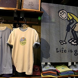 Life is Good features a line of golf-specific clothing that includes t-shirts with its main character, Jake, playing golf.