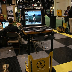 JC Video Motion Analysis Arc-20: This complete system for golf teachers uses camera-based technology built onto an easy-to-move cart. The program provides instant feedback about a golf swing that can be shown to the student.
