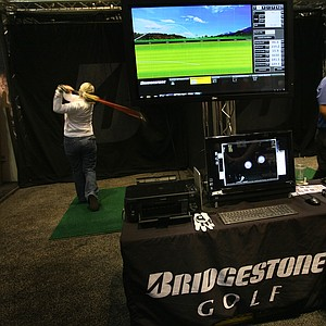 Bridgestone: The club and ball company uses simulators on the floor of the PGA Show to help in its ballfitting of players.