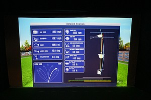 X Golf i2: This full-swing simulator uses mulitiple sensors and cameras and incorporates a moving floor that mimics uphill, downhill and sidehill lies.