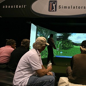 aboutGolf Sim Surround: This full-swing simulator offers realistic launch conditions with a cinema-quality 3D environment.