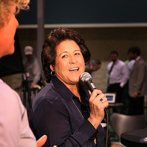 Nancy Lopez spent a good part of the weekend at her own booth, Nancy Lopez Golf, greeting show-goers.