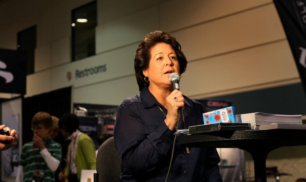 Nancy Lopez answered questions at the SkyKap booth during the final day of the PGA Show.