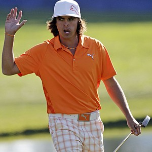 Rickie Fowler showed up in Oklahoma State orange for University Day during Round 3 of the Farmers Insurance Open.