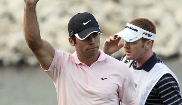 Paul Casey pumps a fist at the Volvo Champions.