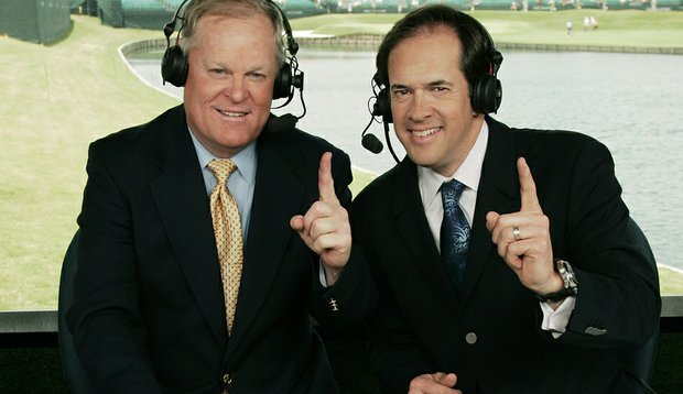 NBC announcers, Johnny Miller, left, and Dan Hicks, right, provide golf coverage during the third round of the Players Championship at TPC Sawgrass.