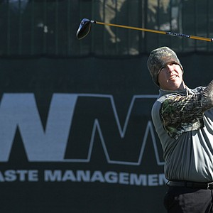 Boo Weekley tees off at the first hole during the first round of the Waste Management Phoenix Open PGA golf tournament Thursday, Feb. 3, 2011, in Scottsdale, Ariz.