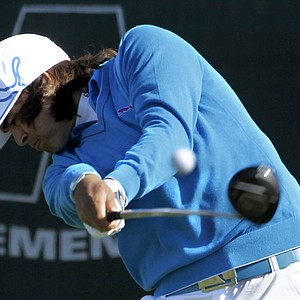 Rickie Fowler hits his tee shot at the first hole during the first round of the Waste Management Phoenix Open PGA golf tournament Thursday, Feb. 3, 2011, in Scottsdale, Ariz. (AP Photo/Ross D. Franklin)