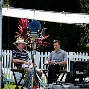 Golf Channel anchor Todd Lewis, right, conducts a post-round interview with PGA Tour player Briny Baird at the Children's Miracle Network Classic.