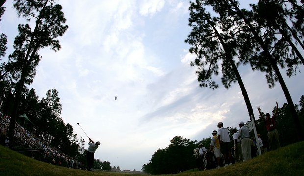 Michael Campbell hits a tee shot on the 18th hole during the final round of the 2005 U.S. Open on Pinehurst No. 2.