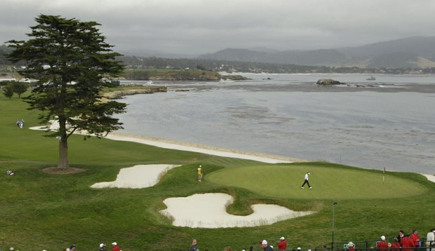 The view from behind the 18th green at Pebble Beach Golf Links during the 2010 U.S. Open.