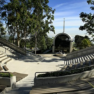 A view of the The Stauffer Chapel on Stauffer Plaza at Pepperdine University in Malibu. Pepperdine is a private Christian University.
