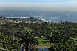 A portion of the practice facility for the golf team can be seen in the bottom right of this picture overlooking Pepperdine University in Malibu.